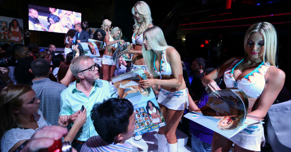 Miami cheerleader unveiling party at LIV