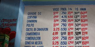 Cevich in Panama, Food in Panama, Menu